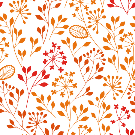 Seamless pattern with colored floral silhouettes on white background. Autumn hand-drawn vector illustration. Floral abstract background. Illustration