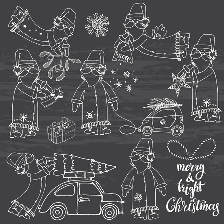 car: Santa Claus (seven characters). Vector sketch collection chalk on blackboard. Hand-drawn festive Christmas elements. Isolated vector objects.