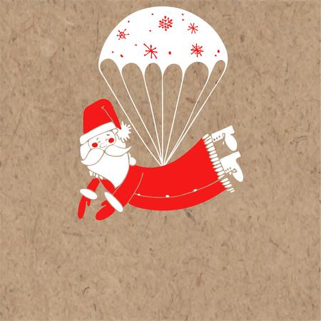 Jolly Santa Claus op een parachute. Kerst wenskaart of uitnodiging op kraft papier. Vectorbeeldverhaalillustratie met plaats voor tekst.