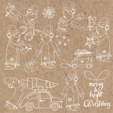 Santa Claus (seven characters). Vector sketch collection on a kraft paper. Hand-drawn festive Christmas elements. Isolated vector objects. Illustration