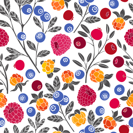 Seamless vector pattern with cranberry, blueberry, raspberry and cloudberry on a white background. Forest berries.