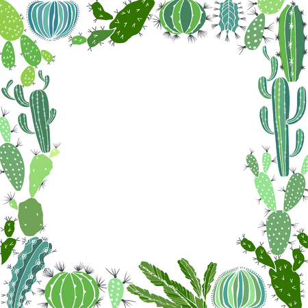 Cacti. Square floral frame. Vector illustration with place for text.