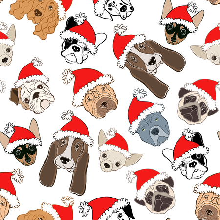 A Seamless pattern with dogs face in Santas hat on a white background. Dog - animal symbol of new year.