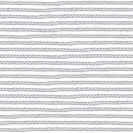 Seamless pattern with rope on a white background. Hand-drawn abstract vector illustration.