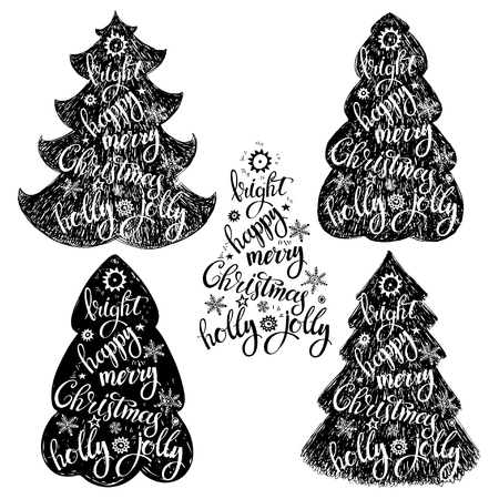 christmastime: Christmas trees. Isolated vector elements on white background. Hand-drawn black silhouettes of Christmas trees with festive words. Illustration