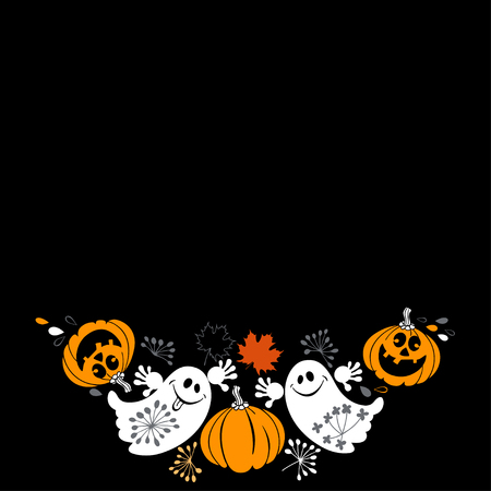 Halloween background with funny ghosts and pumpkins. Vector illustration with place for text on black background. Can be greeting card, invitation or design element.