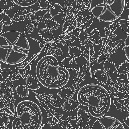 Tomatoes, arugula and pasta farfalle, white outline on black background. Seamless pattern. Italian salad, vector illustration. Ilustracja