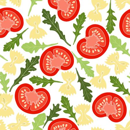 Tomatoes, arugula and pasta farfalle. Seamless pattern. Italian salad, vector illustration.