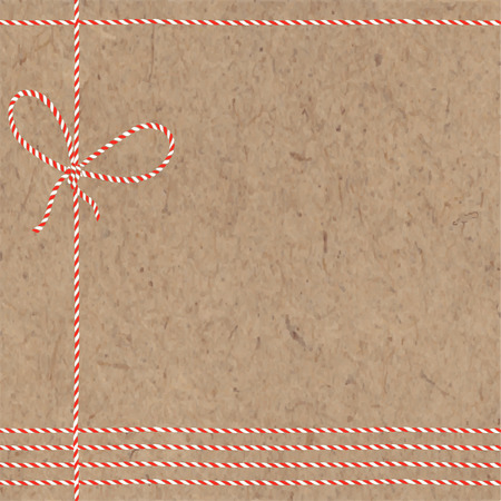 Festive Christmas or New Year background with twisted cord and place for text on kraft paper. Vector illustration can be greeting cards, invitations, and design element.
