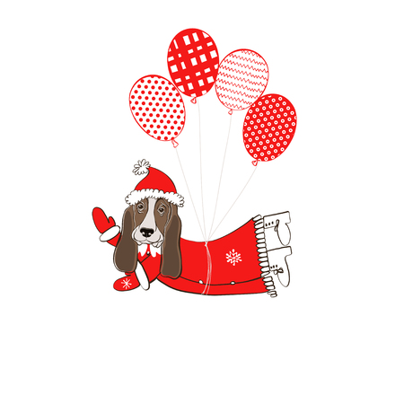 Basset hound dog in santa claus costume flying on balloons element for design greeting card or invitation symbol of new year.