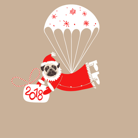 Pug In Santa Claus Costume On A Parachute Element For Design
