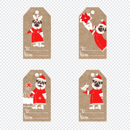 Collection of kraft paper tags with pug dogs in santa claus suit. Illustration