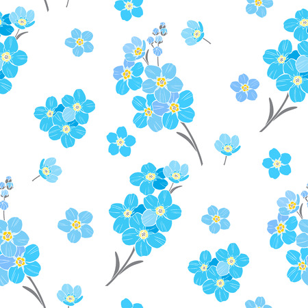 Seamless vector pattern with forget-me-not flowers on a white background.