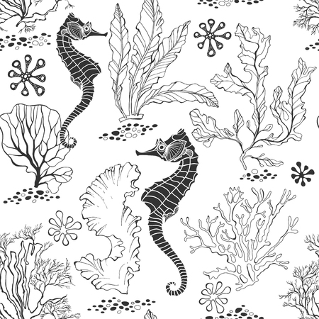 Teste padrão sem emenda com cavalos marinhos e plantas subaquáticas em um fundo branco. Ilustração em vetor preto e branco