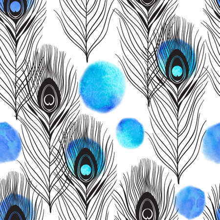 Seamless pattern with peacock feathers and watercolor elements on a white background. Hand-drawn background. Foto de archivo