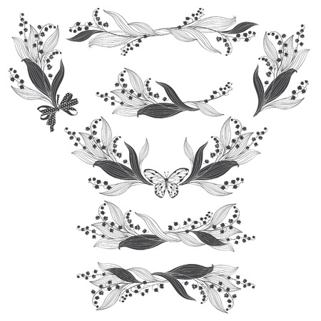 Floral arrangement with lily of the valley flowers. Vector illustrations, isolated elements for design. Monochrome illustrations on white background.