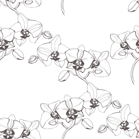 Floral seamless pattern with orchids. Black and white vector illustration.