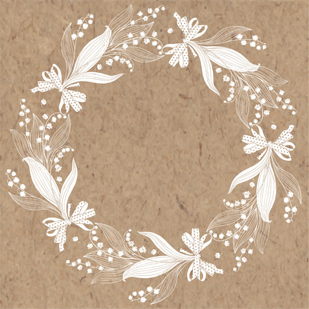 Floral round background with lily of the valley and place for text. Vector illustration on a kraft paper. Invitation, greeting card or an element for your design.