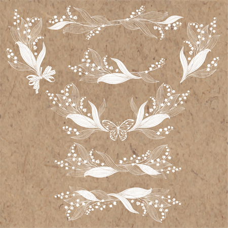 Floral arrangement with lily of the valley flowers. Vector illustrations, isolated elements for design. Monochrome illustrations on a kraft paper.