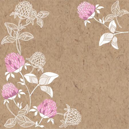 Bloemenachtergrond met klaver en plaats voor tekst. Vector illustratie op een ambachtelijke papier.