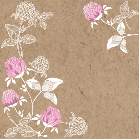 Floral background with clover and place for text. Vector illustration on a craft paper.
