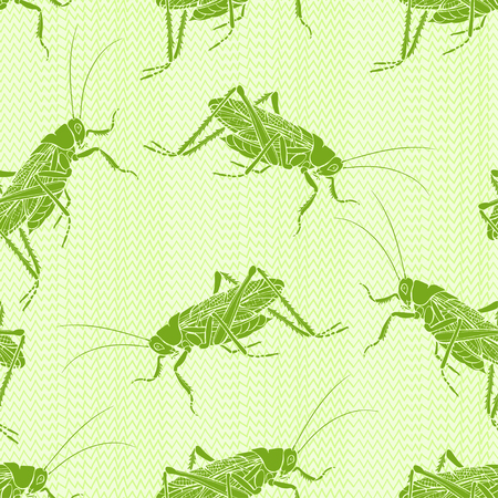 Grasshoppers on the grass. Seamless vector pattern. Hand-drawn art nature background.
