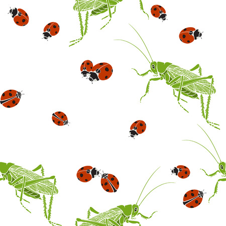 Grasshoppers and ladybugs on a white background. Seamless vector pattern. Ilustração