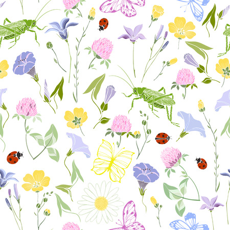Flowers and insects on a white background. Seamless vector pattern. Summer background.