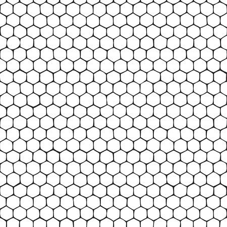 Honeycomb. Seamless monochrome pattern. Hand-drawn vector illustration. Stock Illustratie