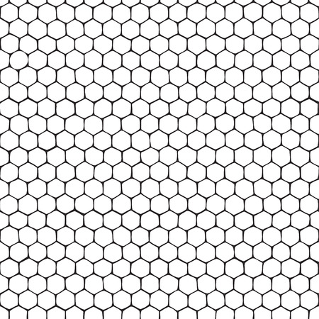 Honeycomb. Seamless monochrome pattern. Hand-drawn vector illustration. Vectores