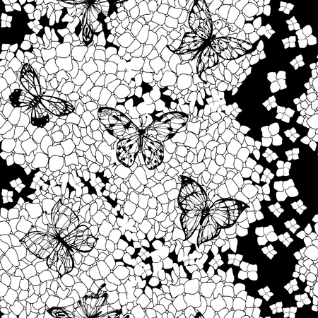 Abstract floral seamless pattern with hydrangeas and butterflies. Vector monochrome illustration.