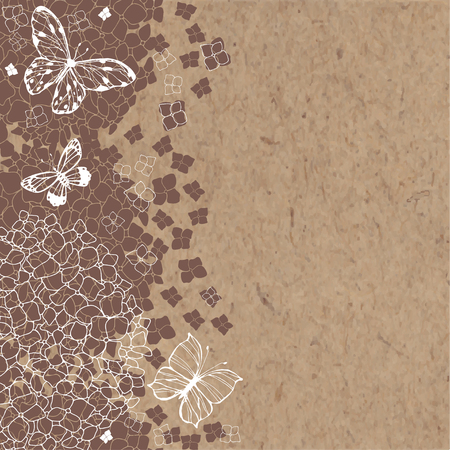 Floral vector background with hydrangeas, butterflies and space for text on a kraft paper. Invitation, greeting card or an element for your design.
