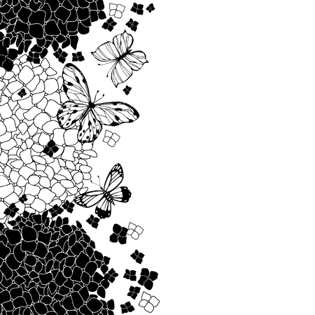Hydrangeas and butterflies. Floral vector background with space for text. Invitation, greeting card or an element for your design. Vertical composition.