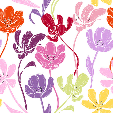 Floral seamless pattern with colorful tulips on a white background. Vector illustration. Abstract nature background. Stock Illustratie