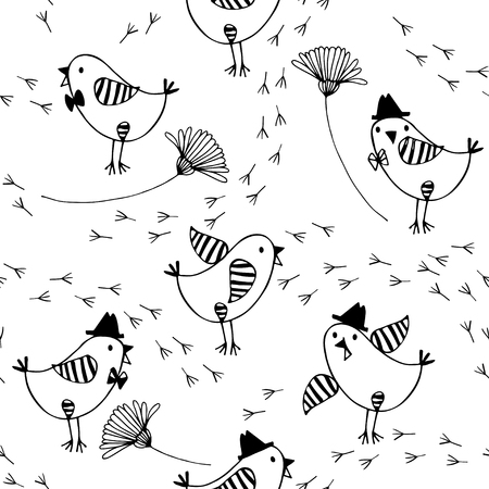 Seamless pattern with cartoon birds, flowers and traces on a white background. Black and white vector illustration.