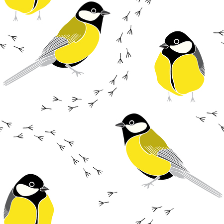 Seamless pattern with traces on a white background. Vector illustration. Illustration