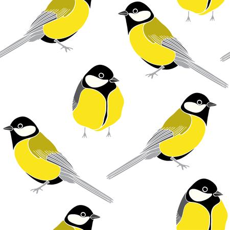 Patrón sin fisuras de pájaros sobre un fondo blanco. Ilustración vectorial