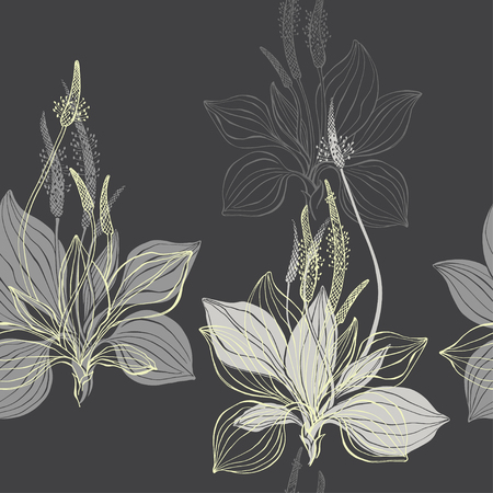 Seamless pattern with plantain on a dark background. Hand-drawn vector illustration. Illustration