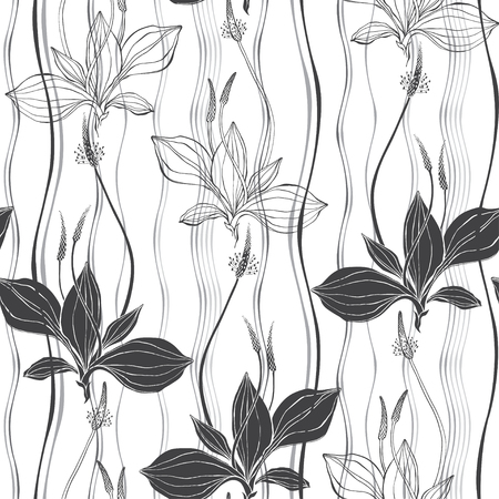 Seamless pattern with plantain on a striped background. Black and white vector illustration. Outline and silhouette drawing. Иллюстрация