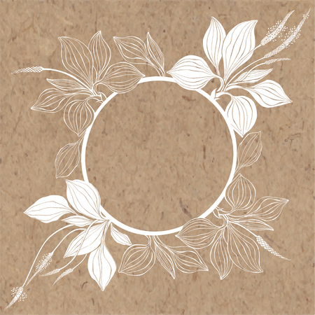 Floral background with plantain on kraft paper. Vector round frame with place for text. Greeting card, invitation or isolated elements for design.