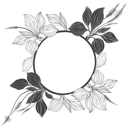 Floral background with plantain on a white background. Vector round frame with place for text. Greeting card, invitation or isolated elements for design.