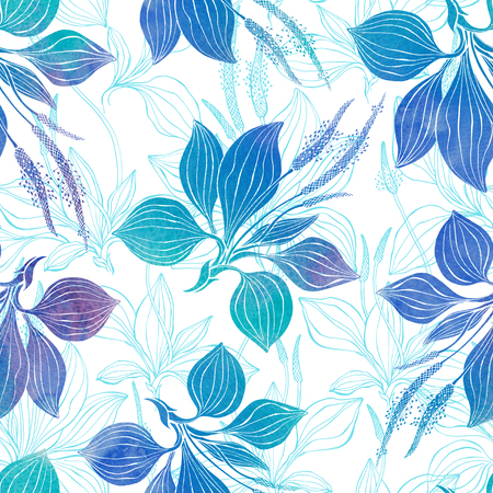 Seamless pattern with plantain. Watercolor illustration on a white background. Stock Photo