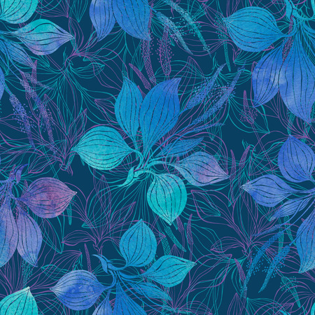 Seamless pattern with plantain. Watercolor illustration on a dark blue background.