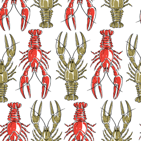 Seamless pattern with crawfish on a white background.Hand drawn vector illustration.