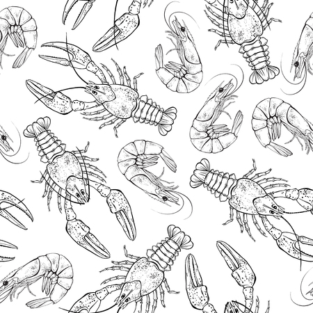 Seamless pattern with crayfish and shrimps on white background. Black and white vector Illustration.