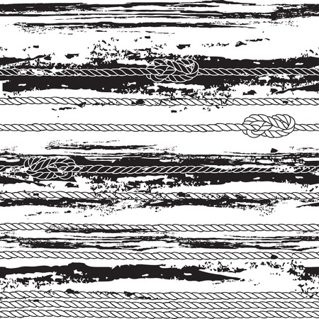 Seamless pattern with marine rope, knots and abstract waves. Black and white vector illustration.