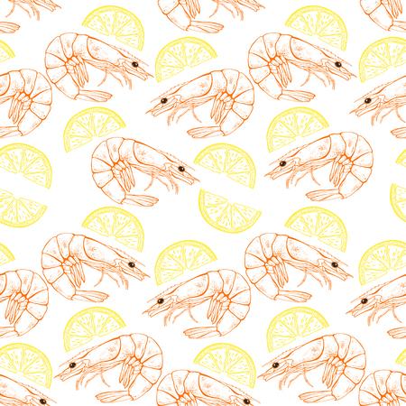 Shrimp and lemon slices. Seamless vector pattern on white background. Food illustration.