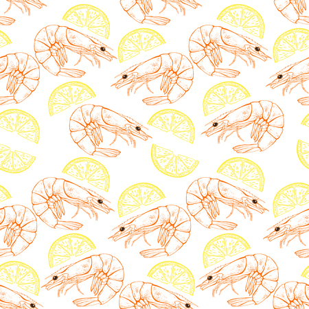Shrimp and lemon slices. Seamless vector pattern on white background. Food illustration.
