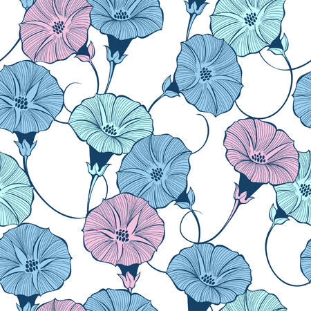 Floral seamless pattern with hand drawn bindweed flowers on a white background. Vector color illustration.