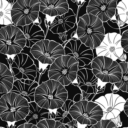 Floral seamless pattern with hand drawn bindweed flowers on a black background. Vector black and white illustration. Ilustração